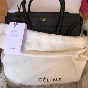 Celine Micro shiny black grained leather gold